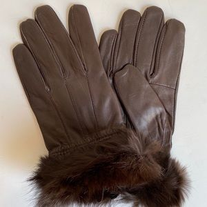 Leather Fur Gloves Medium Rabbit Trim Short Brown